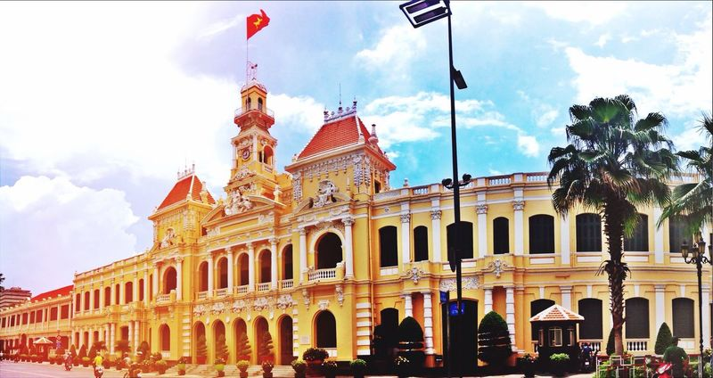 Ho Chi Minh City Saigon Landscape Landscape_photography Manmade Vietnam Yellow Red Architecture Tour Tourism Taking Photos Sun First Eyeem Photo Photography Monument Independence Independence Hall Landscape_Collection