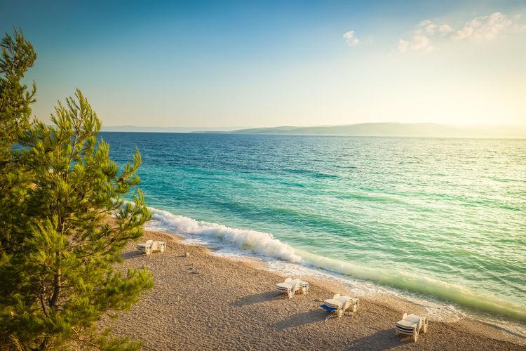 Beach in croatian coast, blue sea. aerial view