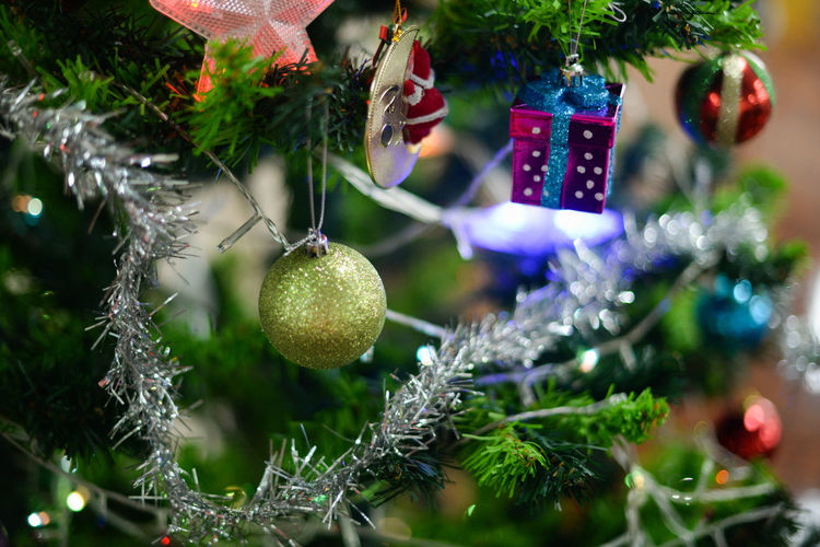 Bauble Branch Celebration Christmas Christmas Decoration Christmas Lights Christmas Ornament Christmas Tree Close-up Day Decoration Focus On Foreground Freshness Hanging Holiday - Event No People Outdoors Tradition Tree