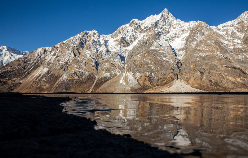 Mountain Scenics - Nature Water Sky Beauty In Nature Lake Cold Temperature Tranquil Scene Tranquility Reflection Nature Mountain Range Clear Sky No People Winter Non-urban Scene Snow Blue Snowcapped Mountain Outdoors Mountain Peak Formation Tibet Ranwu Lake