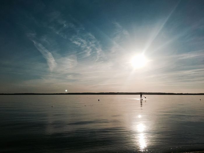 Silver water Silver Lake Lake Schweriner See Stand Up Paddling Sundown Mecklenburgvorpommern Sunset Tranquility Beauty In Nature Water Emptyness Silver  Water Standup Paddleboarding Standuppaddle StandupPaddleBoard Standuppaddleboards Bluesky Sundown Landscape Sundown