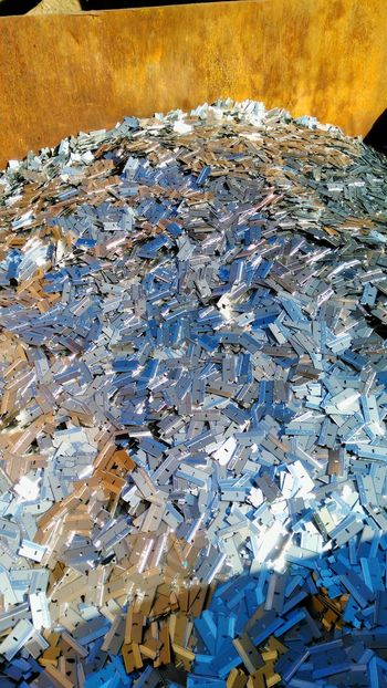 6000 pounds of razor blades Close-up Abundance Full Frame Day Large Group Of Objects Heap No People Work Steel Scrap Metal Scrap Yard Messy Blades Razor Razors Razor Blades Metal Metallic