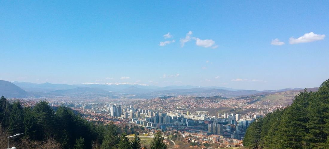 Sarajevo viewed from Sunnyland Mountain Outdoors Travel Destinations Cityscape Tree Sky Scenics City No People Clear Blue Sky Sarajevo Sarajevo Bosnia