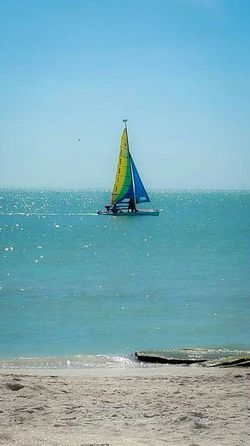 """Live a stress """"less"""" life by going to the beach aa much as possible. Sailboat Sail Away Stress Free Life Sail Boat Sail The Sea Take Me Away Calm Water Gulf Of Mexico Sarasota Florida Drifting Away Turquoise Water Beach Photography Beach Life Beach View Beach Ocean View"""