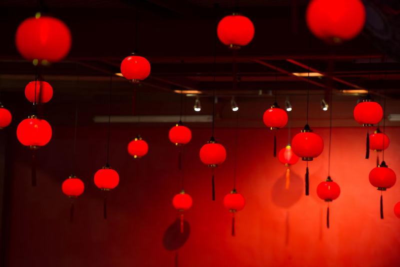 Red Lanterns Hanging Indoors