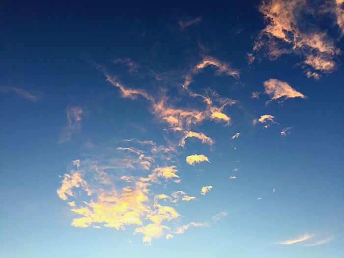 """""""Finger Painted Sky"""" Soft, pink clouds appear finger painted across the blue sky. Newmexicoskies Newmexicophotography NewMexicoTRUE NewMexcio Clouds Clouds And Sky Cloudscape Blue Sky Fingerpaint Nature"""