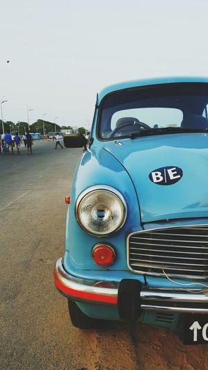 Blue Wave Bluecar Ambassador Chennai India Huwawei Retro Style Roundheadlights Blue