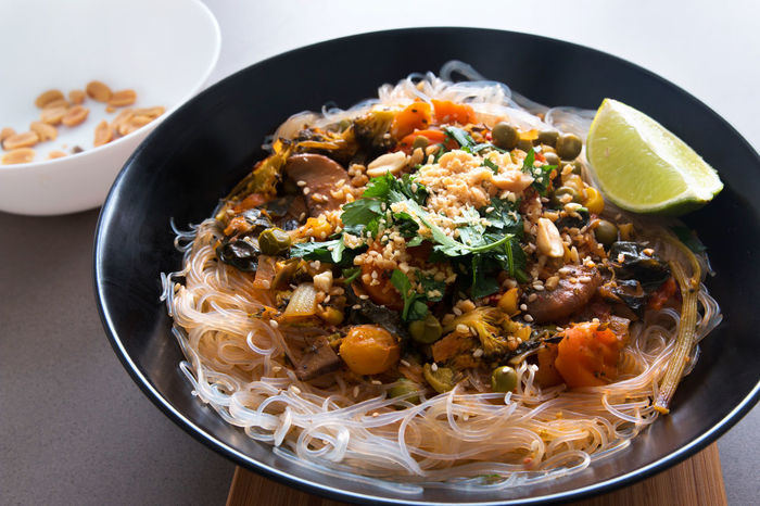 Asian  Diet Dish Noodles Peanuts Vegetarian Food Asian Food Bowl Food Glass Noodles Glutenfree Healthy Eating Healthy Food Lime Parsley Ready-to-eat Recipes Restaurant Sauce Serving Size Tofu Traditional Food Vegan Vegan Food Vegetables