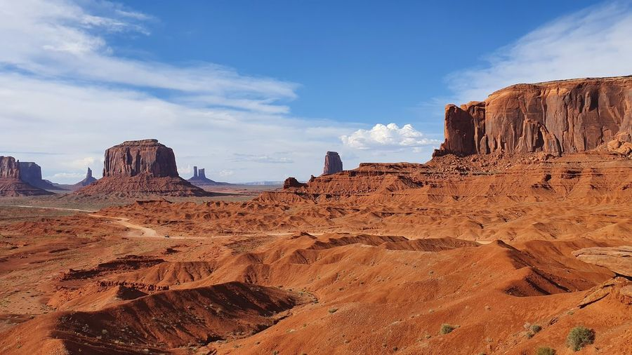 View of rock formations against cloudy sky, monument valley