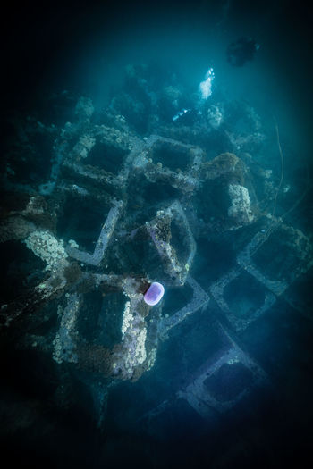Scenic view of concrete blocks underwater