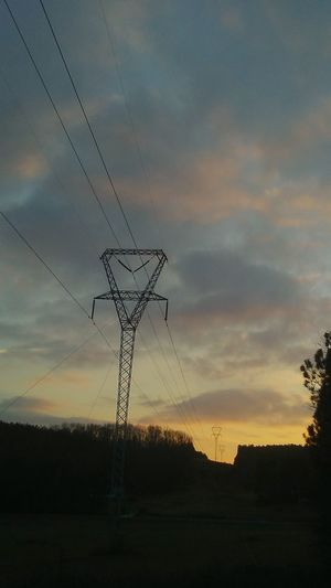 Electricity Pylon Power Line  Electricity  Silhouette Power Supply Sky No People Landscape Tree Rural Scene Sunset Outdoors