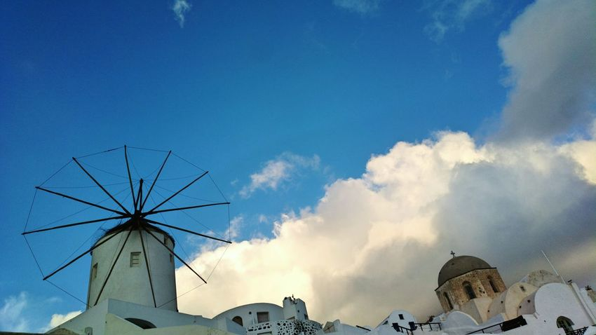 || Nature Theories || Santorini, Greece. TheFoneFanatic Nokia  Nokia808 Vacations Mobilephotography PhonePhotography Cloud - Sky Evening City Blue Sky Architecture Cloud - Sky Windmill TOWNSCAPE