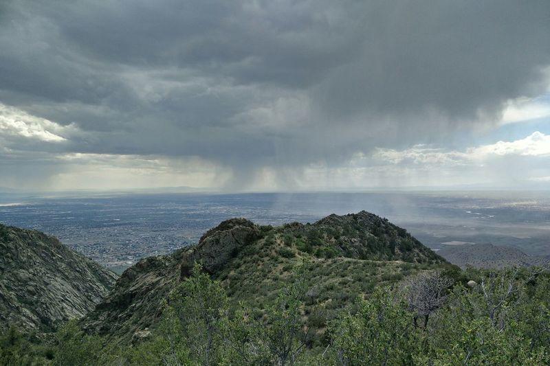 Rain over Albuquerque as seen from the Sandias Albuquerque Sandias La Luz