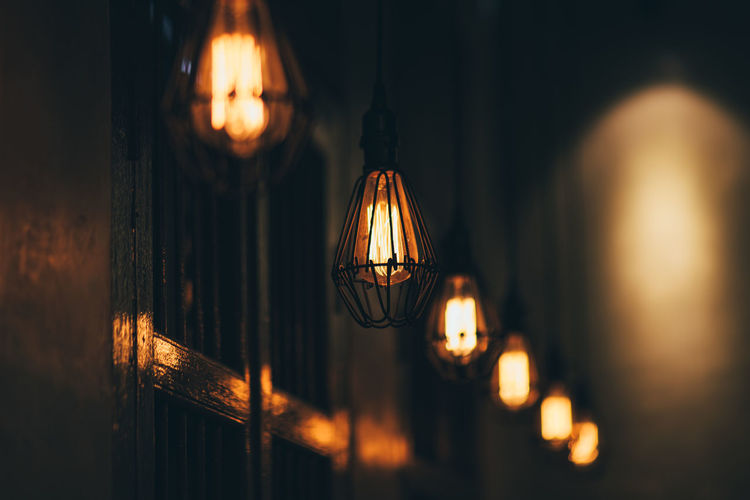 Bulb Lighting Equipment Illuminated Hanging Close-up Indoors  Glowing No People Electricity  Selective Focus Light Night Focus On Foreground Electric Light Decoration Dark Light Bulb Glass - Material Light - Natural Phenomenon Pendant Light Filament Electric Lamp Glass