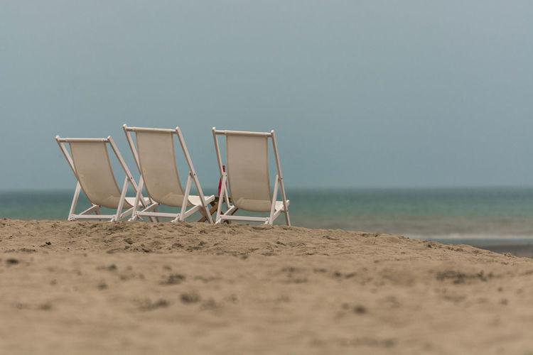 Water Sea Beach Sand Summer Sky Horizon Over Water Seascape Coast Ocean Deck Chair Calm First Eyeem Photo