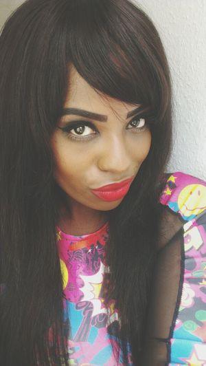 Make Up Redlips Bangs Eyeliner #cartoon #dress #sunny