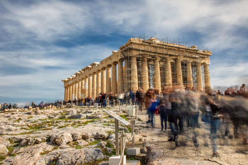 Acropolis on a lovely sunny sunday. Architecture Sky Group Of People Cloud - Sky Built Structure Nature History Travel Destinations The Past Blurred Motion Building Exterior Architectural Column Tourism Day Travel Ancient Motion Large Group Of People Men Real People Ancient Civilization Outdoors Archaeology Greece Athens