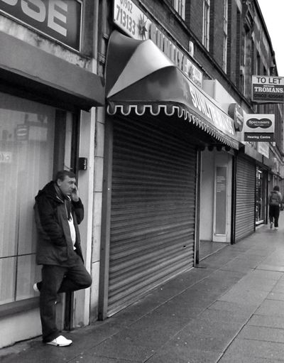 The phonecall Streetphotography People Blackandwhite On The Phone... Urban Landscape Man Streetphoto_bw Perspective Wolverhampton People Watching