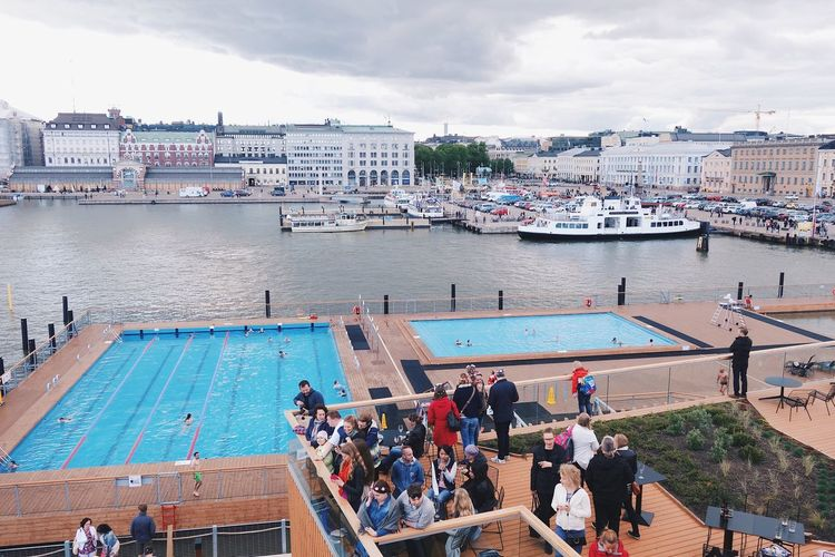 Large Group Of People Water Built Structure Building Exterior Sea Outdoors Cloud - Sky Travel Destinations Harbor Helsinki Finland