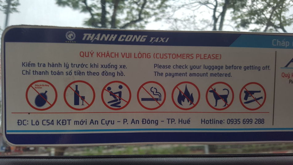 Signs Taxis Rules Graphics Banned Huế Vietnam Communication Day Outdoors Exclusion City Architecture