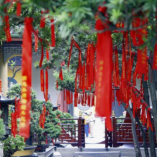Built Structure China Circle Culture Cultures Day Gate Multi Colored Prayer Red Spirituality Temple - Building Temples Tree