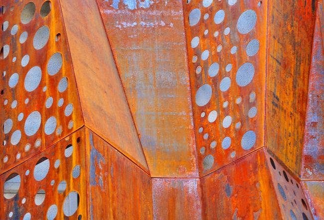 JGLowe Architectural Feature Architectural Feature Architecture Corten Steel Pattern Backgrounds Architecture Full Frame Built Structure No People Design Wall - Building Feature Day Art And Craft Orange Color Multi Colored Close-up Textured  Building