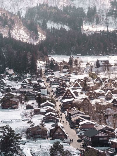 Lovely village Winter Outdoors Tree Nature Snow Day No People High Angle View Cold Temperature Architecture Built Structure Beauty In Nature Building Exterior Water Landscape Mountain Scenics