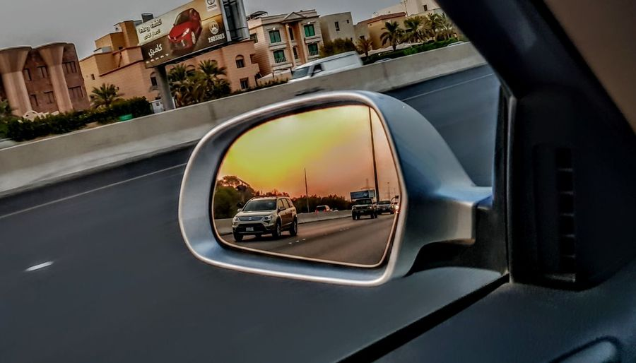 On highway , Kuwait Sunset City Cityscape Architecture Building Exterior Side-view Mirror Car Interior Rear-view Mirror Moving Vehicle Mirror Car Point Of View EyeEmNewHere