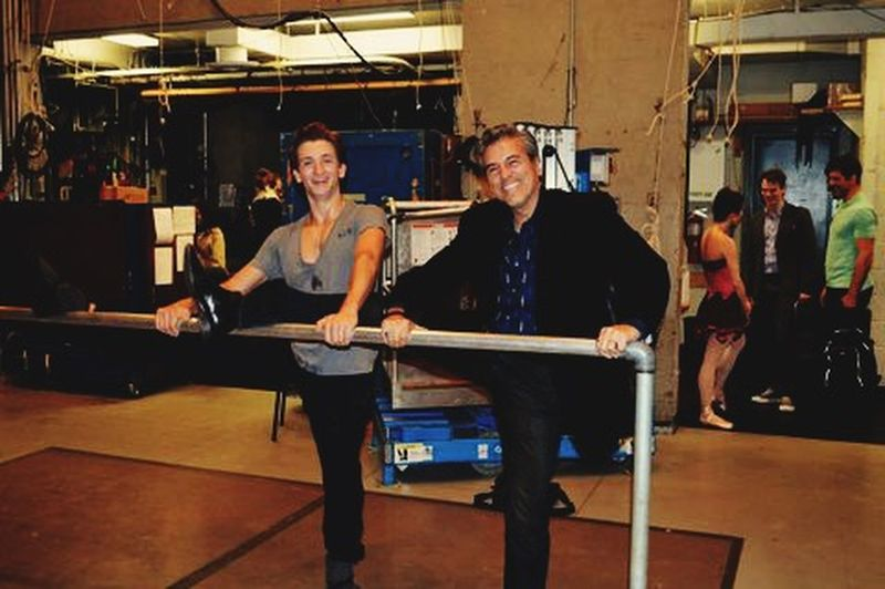 me... Stretching Backstage at the NYC Ballet on the Balance Bar with ballet dancer Harrison Coll