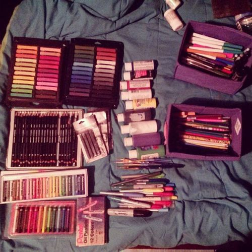 Got some new supplies!<3 Happyfuck Acrylic Bic Sharpies  oilpastel pentel graphicpencil charcoal paintbrushes