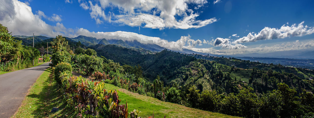 Poas Panorama. Looking at Poas Volcano National Park at the top from San Luis ridge. El Cajon ridge can be seen to the right. Adventure Costa Rica Mountain No People Poas Volcano National Pura Vida Tourist Attraction  Travel Destinations Vista Panorámica