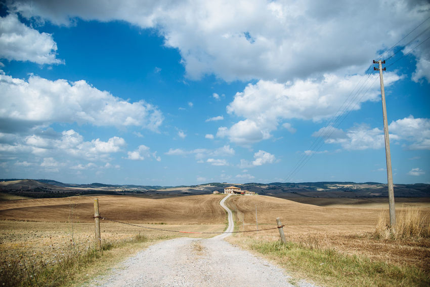 Beutiful Place  Clouds Country Road Countryside Cumulus Cloud Hills Italy Landscape No People Scenary Sky Solitude Summer Sunny Day Toscana Tourism Tourist Tourists Tranquil Scene Tranquility Tranquility Travelling Tuscany Val D'orcia Vanishing Point