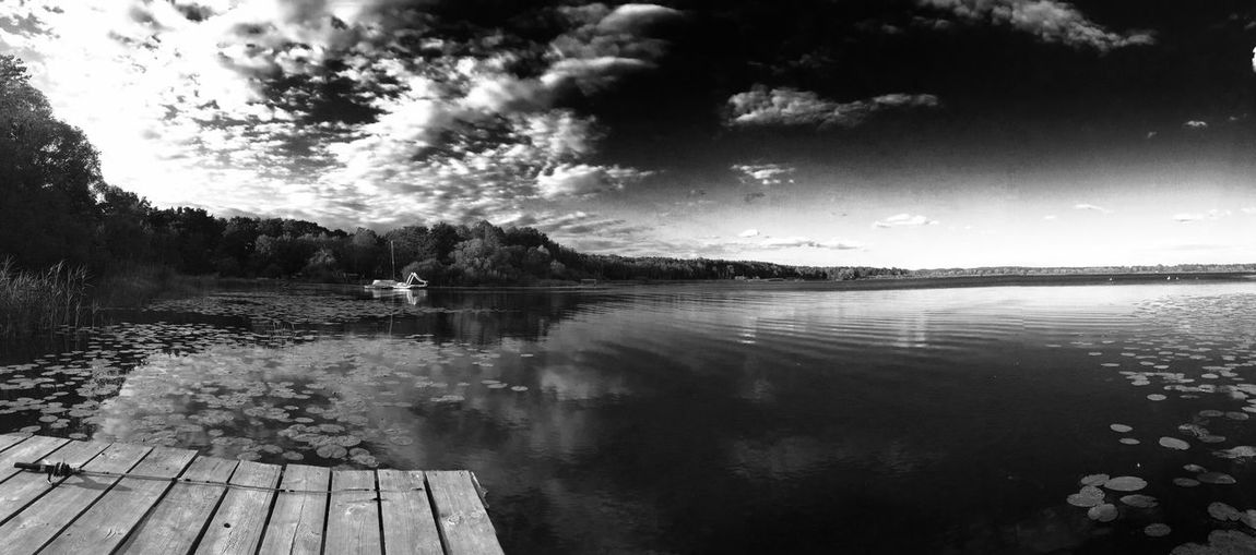 Blackandwhite Lake Waterslide by the Jetty Hanging Out