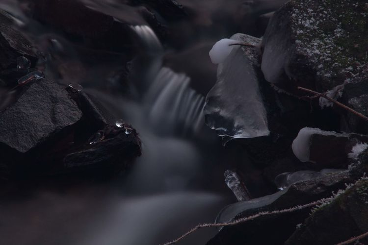 Close-up of flowing water during winter