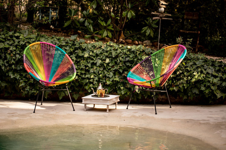 Multi Colored Nature Plant Water Day No People Tree Pool Outdoors Swimming Pool Reflection Absence Growth Beauty In Nature Sunlight Waterfront Chair Relaxation Decoration Decor Decorative Decorations Decorative Art Decoracion