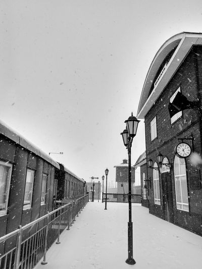 Built Structure Architecture Cold Temperature Winter Snow Building Exterior Outdoors Snowing Retro Styled Retro Design Old-fashioned Oldschool Retro Transport Retro Train Retro Oldstyle Transportation Vehicle Transport Transportation Snowflakes Snowfall Snowfalling Train Train Station Railway Station Shades Of Winter