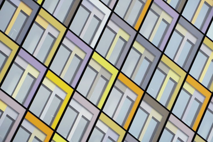 Pattern Built Structure Architecture Glass - Material Building Geometric Shape Building Exterior Modern Repetition Façade Abstract Geometry Colors