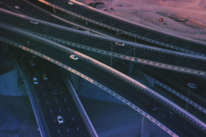 Aerial View Of Cars On Elevated Highway