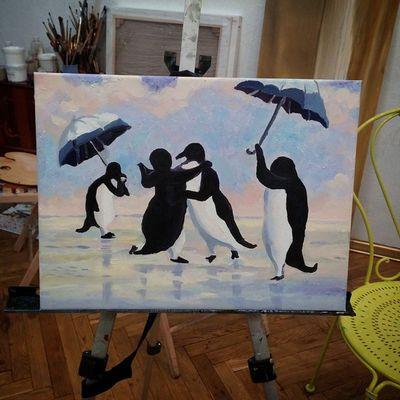 Скажи привет Танцующим Пингвинам🐧🐧 танцующиепингвины Udividali Udivi_dali Oilpainting картинамаслом
