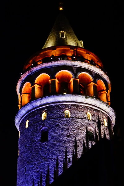 Galata Tower Galata Tower Taksim Istanbul Türkiye City Black Background Dome Gold Colored Red Architecture Sky Close-up Historic Cathedral History Politics And Government Bell Tower Castle EyeEmNewHere