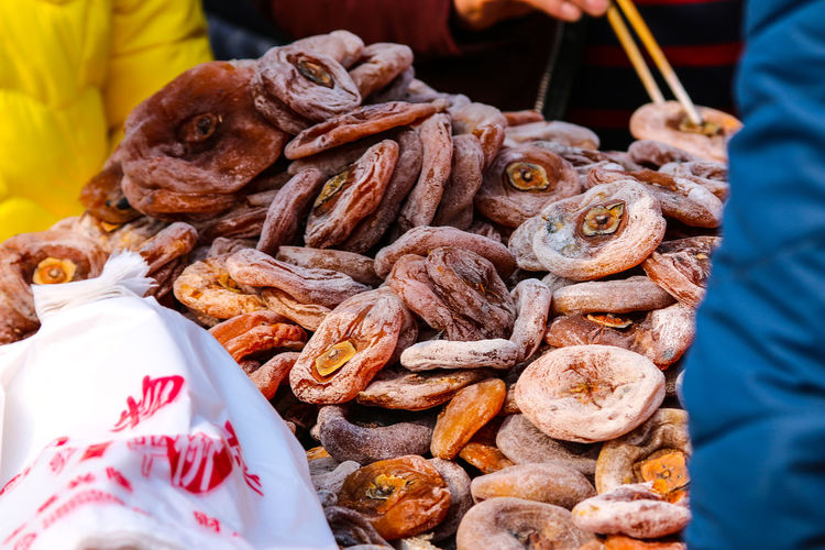 Dried persimmon at market for sale