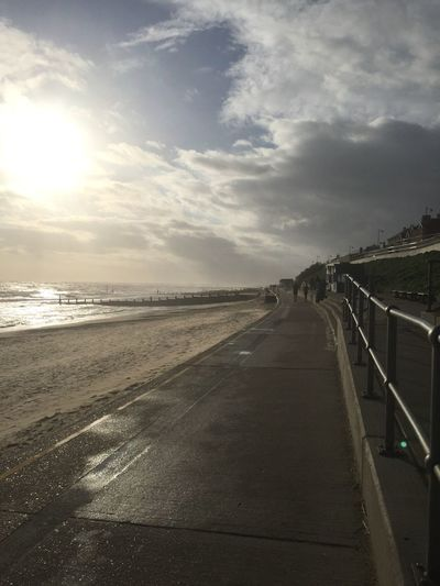 Beach Beauty In Nature Cloud Cloud - Sky Clouds Clouds And Sky Cloudy Diminishing Perspective Horizon Over Water Nature Railing Road Scenics Sea Sky Southwold Sunlight The Way Forward Tranquil Scene Tranquility Transportation Vanishing Point Water Winter