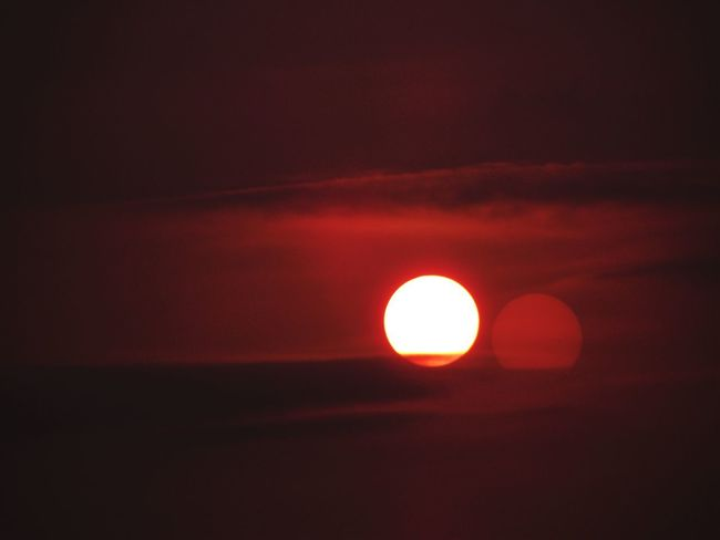 Beauty In Nature Scenics Orange Color No People Sun Nature Sky Astronomy Outdoors Tranquil Scene Red Sunset Low Angle View Space Moon Close-up Sunset_collection
