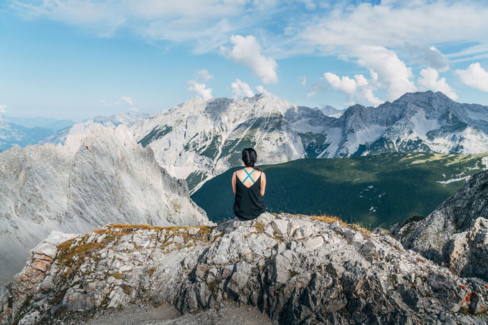 Adult Adults Only Adventure Beauty Beauty In Nature Day Glacier Hiking Landscape Looking At View Mid Adult Mountain Mountain Peak Mountain Range Nature One Person One Woman Only Only Women Outdoors People Portrait Rock - Object Sky Snow Lost In The Landscape The Great Outdoors - 2018 EyeEm Awards The Traveler - 2018 EyeEm Awards