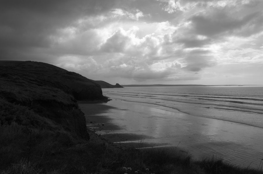 Newgale Pembrokeshire Coast Beauty In Nature Out For A Walk Outdoors No People Coastpath Coast Black And White Blackandwhite Pembrokeshire Nature Seascape Seaside Sea Tranquil Scene Day Sea And Sky Beach