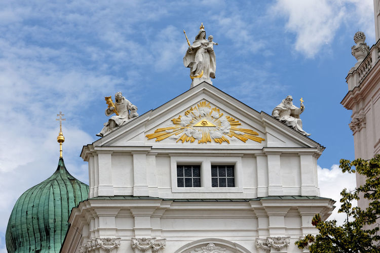 Low angle view of statues on church
