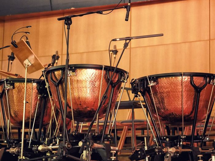 Close-up of timpani in concert hall