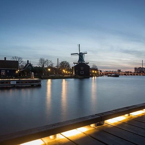 ✨ Landscape_photography Windmill Long Exposure The Netherlands Zaanse Schans Night Lights Canon Feinfarben