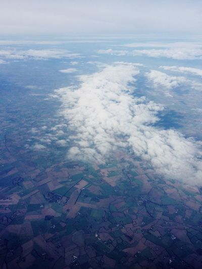 Clouds Airplane photo Aerial View Scenics - Nature Beauty In Nature Tranquil Scene Landscape Cloud - Sky Environment Nature Tranquility Sky No People Idyllic High Angle View Day Water Land Outdoors Cloudscape Blue Agriculture