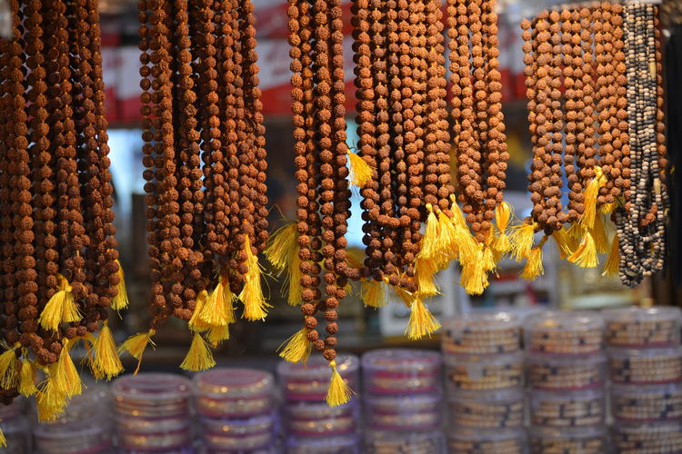 Rudraksha garlands for sale at a shop in maihar, madhya pradesh, india